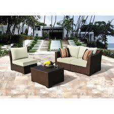 Sirio Patio Furniture Covers Canada by Borealis Settina 4 Piece Outdoor Sectional Lounge Set Brown