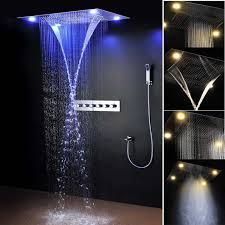 moderne luxus dusche system spa nebel wasserfall bad thermostat armaturen dusche elektrische led einbau regen set buy einbau regen dusche wasserhahn