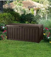 Plastic Garden Storage Bench Seat by Amazon Com Keter Glenwood Plastic Deck Storage Container Box 101