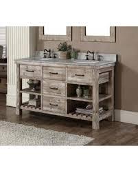 Infurniture Rustic Style 60 Inch Double Sink Bathroom Vanity Carrara White Marble