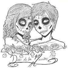 Printable Black And White Dia De Los Muertos Boy Girl Love Couple Drawing Doodle Sugar Skulls
