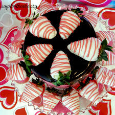 Dark Chocolate & Strawberry Buttercream Cake with Chocolate Covered Strawberries