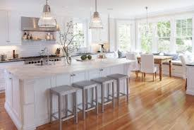 Elegance White Kitchen Designs With Wood Floors Tiles Wonderful Open Ideas Gray Stools