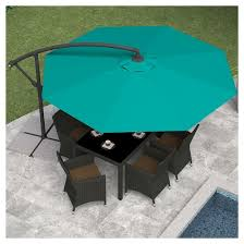 Patio Umbrellas At Target by 8 25 U0027 Offset Patio Umbrella Turquoise Blue Corliving Target