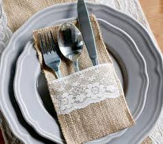1pcs Hessian Burlap Lace Wedding Tableware Pouch Cutlery Holder Decoration Favor Rustic Decor Vintage
