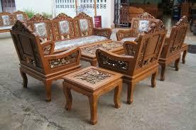 Carved Teak Wood Living Room Furniture Set Dragon With Beautiful Details