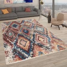 kurzflor teppich wohnzimmer used look rauten