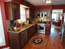 Thomasville Kitchen Cabinets Decoration Colors With Red Color Theme Brown Wooden Detail Design Medium Wood Cherry Backsplash Combined Lighting