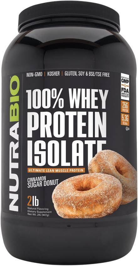 NutraBio 100% Whey Protein Isolate (Cinnamon Sugar Donut, 2 Pounds)
