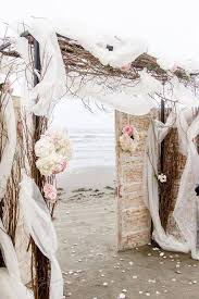 Seaside Beach Wedding With Rustic Old Doors Twigs Branches 10