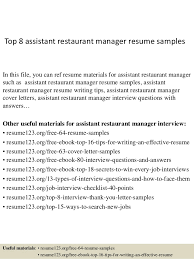 Top 8 Assistant Restaurant Manager Resume Samples In This File You Can Ref Materials