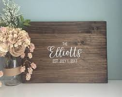 Rustic Wedding Guest Book Alternative Calligraphy Name Design Painted Decor Wood