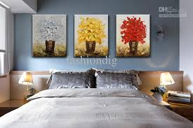 Modern Flower Oil Painting Canvas Thick Abstract Handmade Home Office Wall Art Decor Decoration Fower Yellow Red