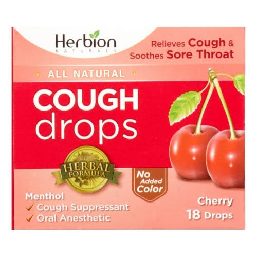 Herbion Cough Drops - Cherry, 18 Drops
