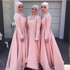 Long Sleeve Bridesmaid Dresses Muslim Elegant Wedding Guest Dresses