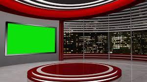 News TV Studio Set 55 Virtual Green Screen Background Loop Motion