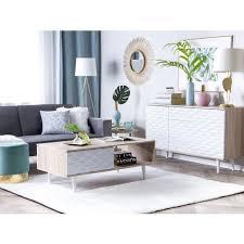 sideboard heller holzfarbton weiß spanplatte mdf platte holz 81 x 140 x 40 cm modern geräumige schubladen viel stauraum wohnzimmer