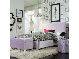 Upholstered Headboards In Purple Matched With Black Floral Bedding On Wooden Floor White Rug Plus