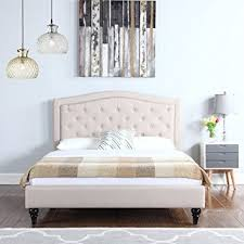 Amazon Classic Dark Ivory Color Box Tufted Fabric Bed Frame