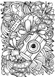 Anti Stress Coloring Book Page For Adult Photo Camera Brush