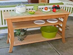 Console Tables Unfinished Cedar Display Patio Buffet Table With Curved Legs Outdoor Furniture Kitchen