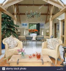 100 Modern Barn Conversion Seagrass Chairs And Pine Table In Conservatory Extension Of Modern