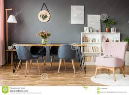 Pink And Grey Dining Room Stock Photo. Image Of Scandi ...