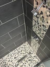 Pebble Tile Shower Floor And Wall