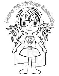 Personalized Printable SuperHero Girl Birthday Party Favor Childrens Kids Coloring Page Book Activity PDF Or JPEG