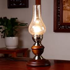 Classic Retro Kerosene Lamp Glass Lantern Desk Reading Lights Rustic Country Solid Wood Iron Bedside Table In Lamps From