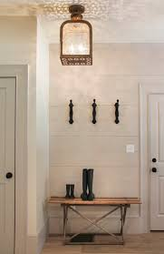 Farmhouse Foyer Design With Wood Wall Painted All White Interior Color Decor And Hanging Style Chandeliers Lamp Shades Plus DIY Entryway Boot