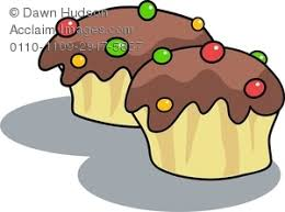 Clipart Image of Two Tasty Chocolate Cupcakes With Candy on Top