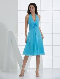 knee length halter cocktail dress with v neck milanoo com