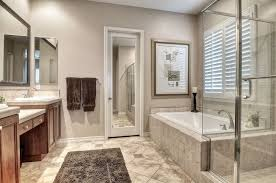 contemporary master bathroom with tile sink in