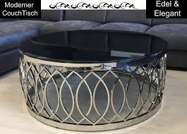 moderner runder tisch glastisch mit edelstahl gestell