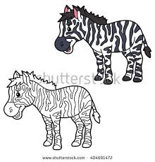 Educational Kids Cartoon Coloring Page Vector Of Happy Zebra For Children