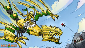 LEGO Ninjago Golden Dragon Under Attack Coloring Page Printable