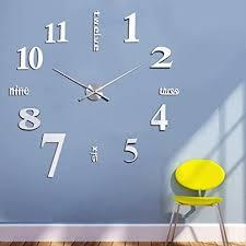 yosoo diy design wand uhr wohnzimmer wanduhr spiegel wandtattoo deko 3d zimmer