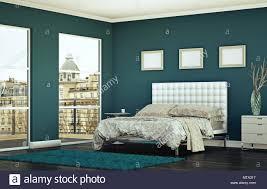 modernes schlafzimmer mit blauen wand und moderne