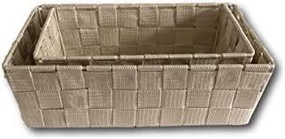 design 2 teiliges set ablagekorb korb ablage aufbewahrungskorb bad küche regalkörbe universal 2 körbe kunstfaser gewebt beige