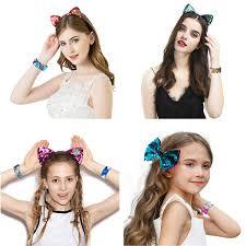 MIMIDOU Magic Sequins Mermaid Bracelet And Hair Clip 18 Pack 2Color