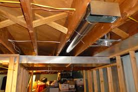 Exposed Basement Ceiling Lighting Ideas by Pipe And Wood Low Ceiling For Basement Makeover Ideas