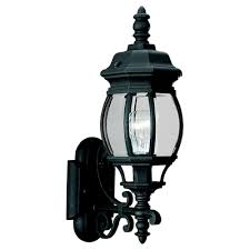 sea gull lighting wynfield 1 light black outdoor wall fixture