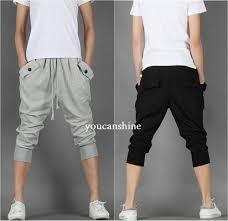men u0027s capri jogger sports shorts baggy harem cropped pants hip hop