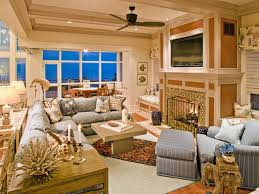 Rustic House Design With Coastal Themed Living Room Idea