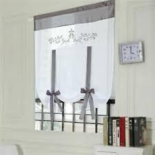 details zu raffrollo weiß küche gardinen raffgardinen bindegardine landhaus bestickt grau