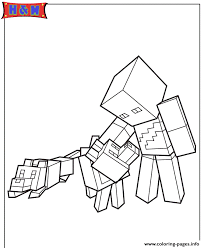 Minecraft Character And Wolves Coloring Pages