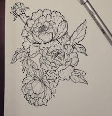 Awesome Black Outline Peony Flowers Tattoo Design