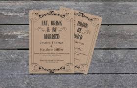 Eat Drink Be Married Rustic Kraft Paper Wedding Invitation Template