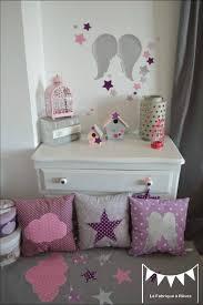 deco chambre bebe fille gris lot 3 coussins thème ange étoiles parme mauve violet argent gris